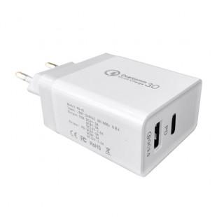 Carregador Qualcomm 3.0 USB + Type-C - Hrebos
